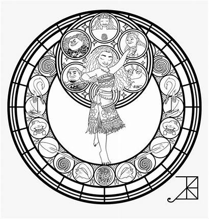 Coloring Stained Glass Disney Moana Lineart Font