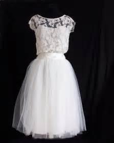 robe de mari 233 e courte dentelle et jupe en tulle robe mariage tutu mi haut dentelle sur