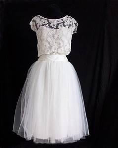 robe de mariee courte dentelle et jupe en tulle robe With robe blanche droite