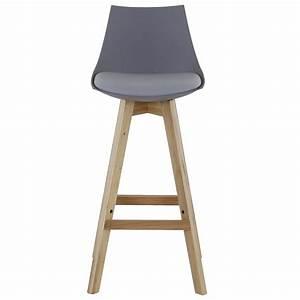Chaise De Bar Grise : chaise de bar style scandinave grise et pi tement ch ne ~ Voncanada.com Idées de Décoration