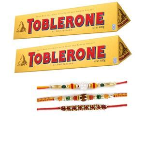 Toblerone Set 02 pieces toblerone chocolate and set of 03 rakhi her india
