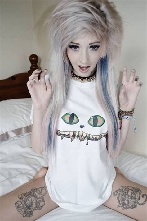 alright blonde  blue  love  shirt give  cx   tatoos emo scene hair