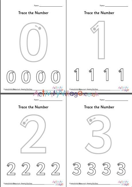 trace the number worksheets 0 to 10