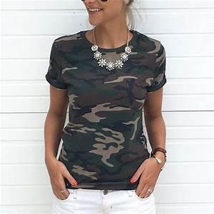 Tee Shirt Camouflage Femme : 2018 summer camouflage short t shirt women tee shirt femme casual loose short sleeves female t ~ Nature-et-papiers.com Idées de Décoration