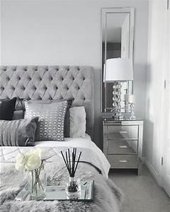 Grey, Bedroom, Inspo, Grey, Interior, Bedroom, Silver, Mirror, Side, Tables, Mirroredbedroomfu, U2026