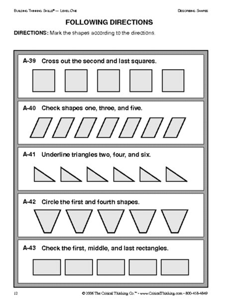 11 Best Images Of Following Directions Worksheets Middle School  Following Directions