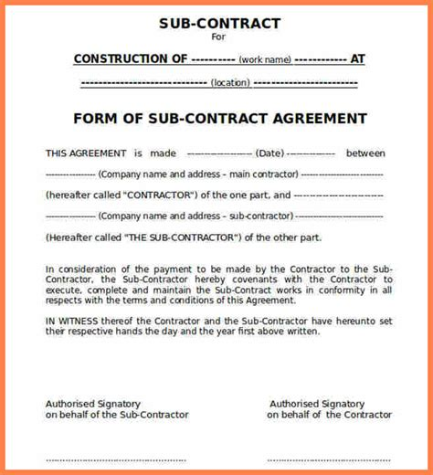 construction subcontractor agreement template