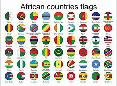 Sæt runde knapper med flag i Afrika vektor illustration