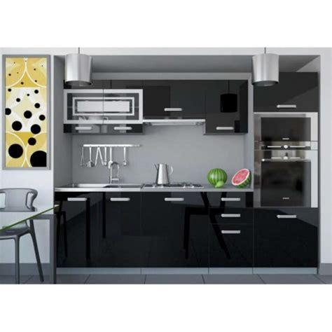 the of cuisine justhome paula 1 cuisine équipée complète 240 cm couleur noir blanc laqué haute brillance
