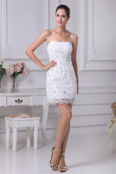 shortmini strapless beaded applique bridal wedding dress