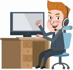 Cartoon Business Man working with Computer and Thumbs Up ...
