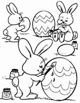 Easter Coloring Bunnies Pages Egg Painting Colouring Eggs Bunny Happy Craft Bunnys sketch template