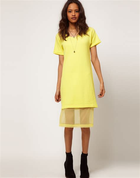 Lyst - Asos collection Midi Tshirt Dress with Chiffon Underskirt in Yellow