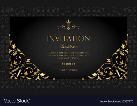 Invitation card luxury black and gold style Vector Image
