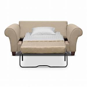cream color leather twin size sleeper sofa with white fold With twin sofa sleeper