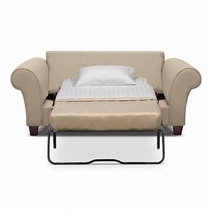 cream color leather twin size sleeper sofa with white fold With double bed size sleeper sofa