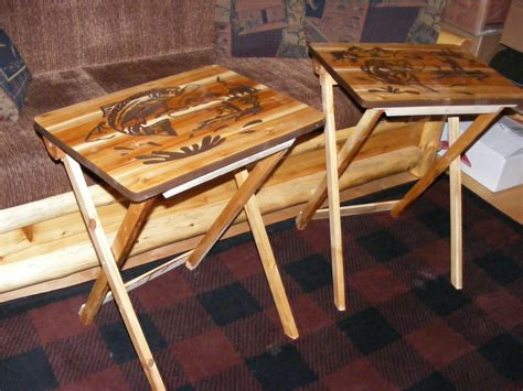 wooden tv trays wood tv tray tables fishing design hand made by blackriverwoodshop