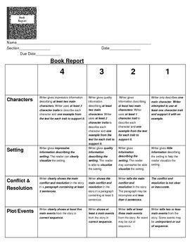 book report rubric thth grade reading rubrics
