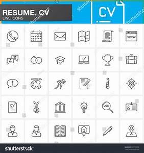 Line Icons Set Resume Cv Outline Stock Vector
