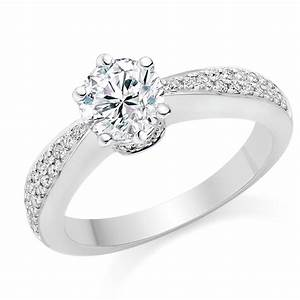 Round cut 069 carat side stones engagement ring 18k white for Images of white gold wedding rings