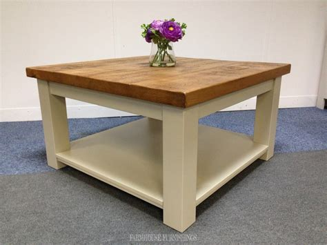 Plank Top Solid Pine Square Coffee Table   Farmhouse Furnishings