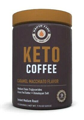 It's more than just a typical weight loss product, and it contains ingredients designed to boost both mental and physical energy and improve general health too. Rapid Fire KETOGENIC COFFEE Keto Instant CARAMEL MACCHIATO 15 Servings BURN FAT 35046104481 | eBay