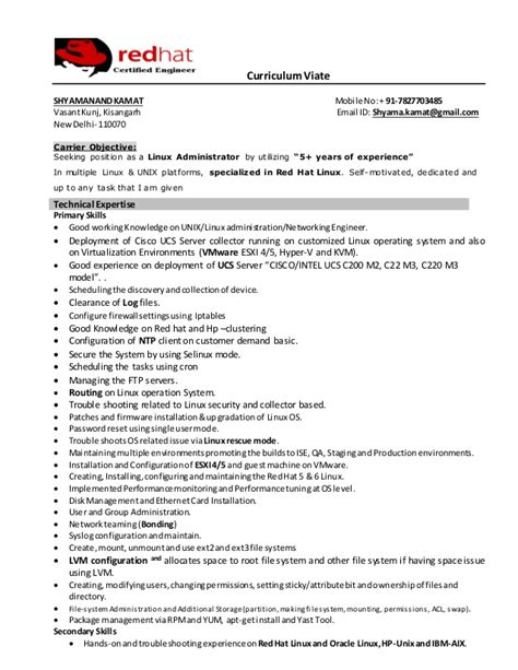 System Administrator Sle Resume 4 Years Experience by 100 Linux Administrator Resume 1 Year Experience Cv