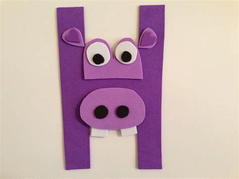 letter h crafts ideas preschool and kindergarten 930 | Hippo craft for teach letter h