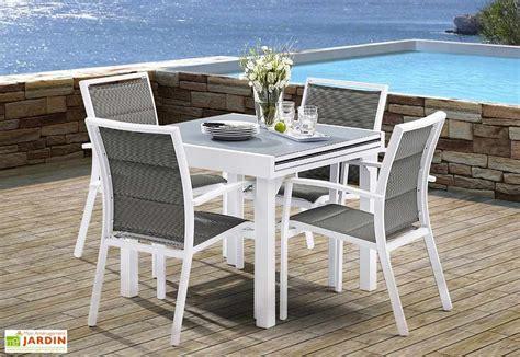 Salon de Jardin Modulo  Table Extensible + 4 Fauteuils (5 Coloris) - Wilsa
