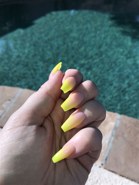 neon yellow ombre nails nails   acrylic nails