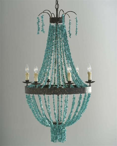 Beaded Chandelier - horchow nieman turquoise 6 light iron