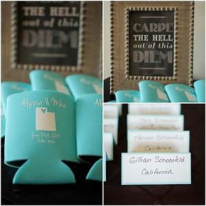 Destination mountain wedding rustic wedding chic for Beer koozie wedding favors