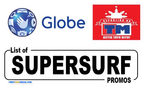 List Of Globe And Touch Mobile (tm) Supersurf Unli