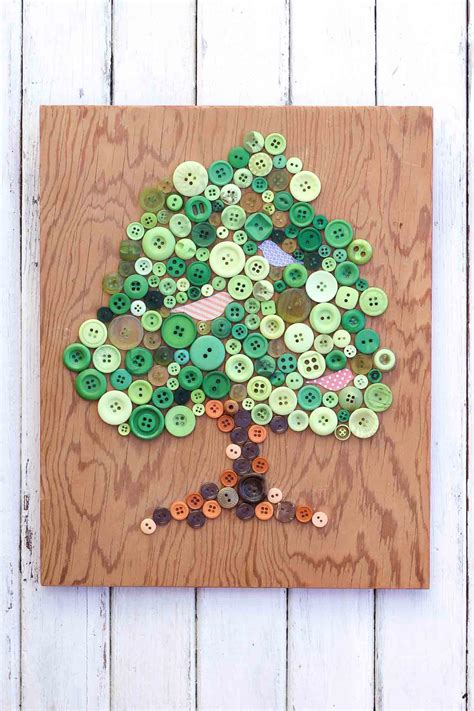 craft ideas using buttons button tree earth day craft allfreeholidaycrafts 3945