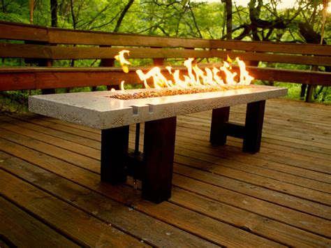 Fire Pit Fire Table Concrete and Glass Propane by BSquaredInc