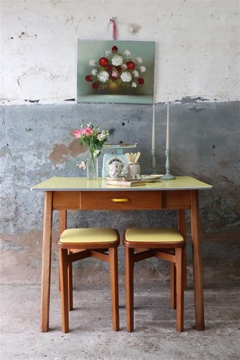 restored canary yellow  formica kitchen table