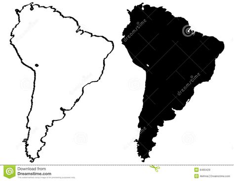 black and white south six map of south america illustration royalty free stock