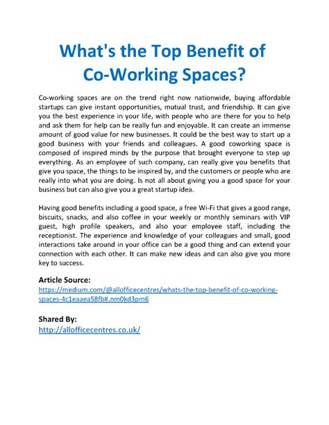 coworking templates ppt what s the top benefit of co working spaces authorstream