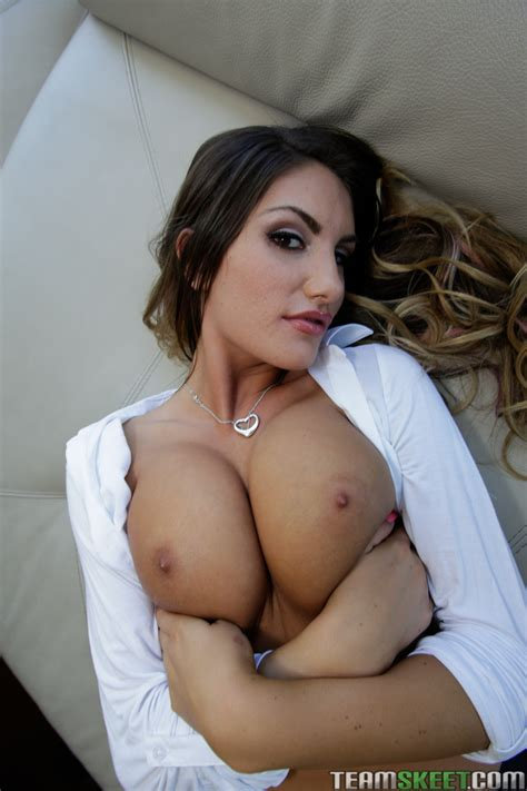 august ames in black stockings showing her hot body and