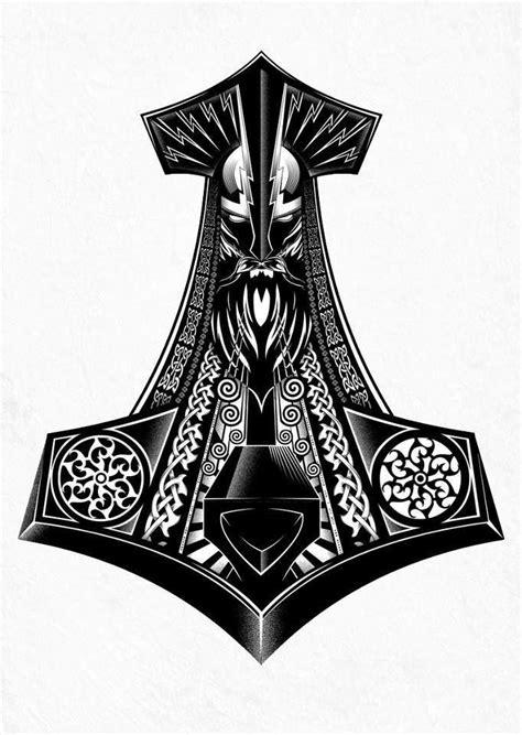 Mjolnir   tats   Pinterest   Tatouage viking, Tatouage nordique and Tatouage