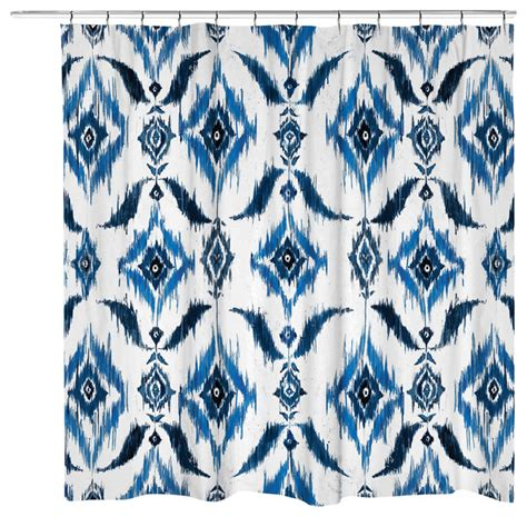 ikat shower curtain indigo mediterranean shower