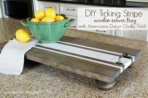 diy ticking stripe wooden server tray americana decor