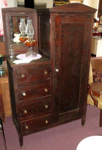 Dresser Wardrobe Furniture by Antique 1900 S Pine Wardrobe Gentleman S Dresser Mirror 4