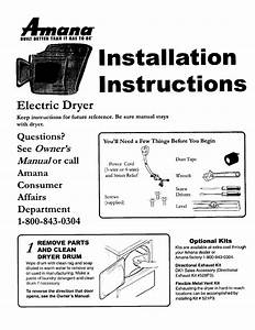 Amana Clothes Dryer 40086101 User Guide