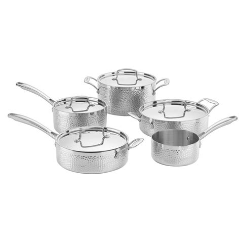 cuisinart hammered cookware stainless steel piece ply sets stick tri non htp lid copper collection included amazon cooking lowes