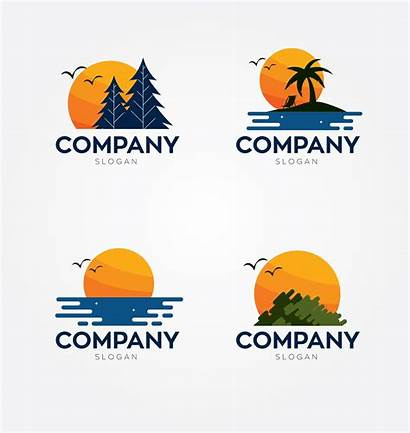 Sunset Logos Sun Abstract Vectorstock Slogans Company