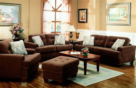 Brown Terry Cloth Living Room W/button Tufted Seats
