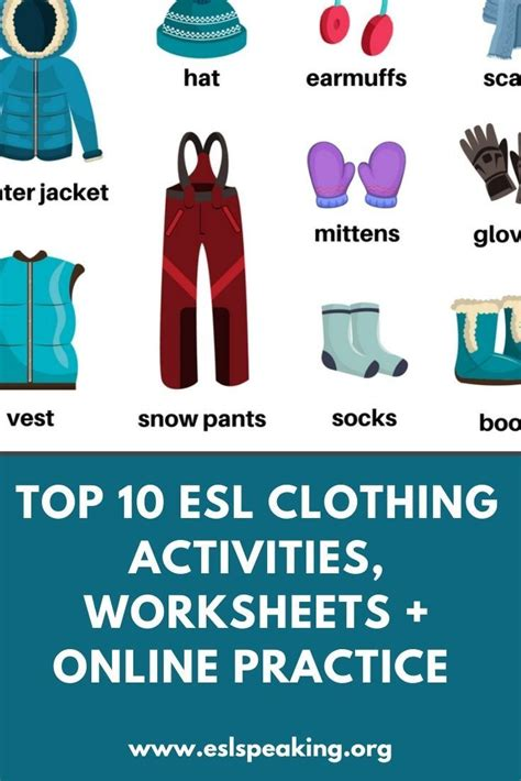 esl clothing activities  games  images esl