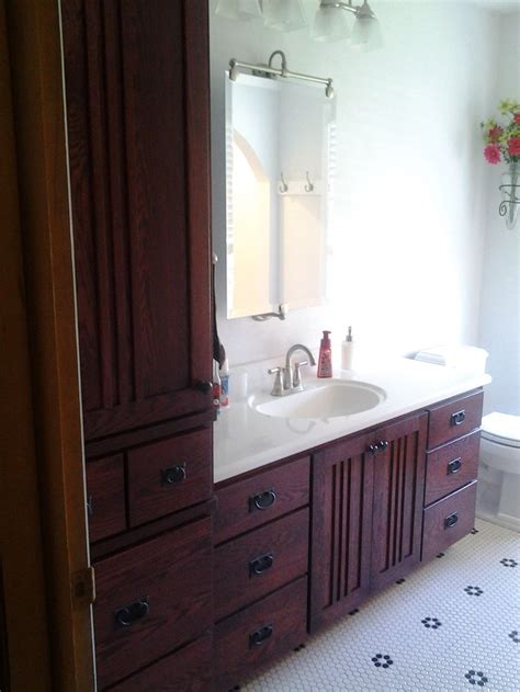quarter sawn oak mission style vanity matching linen