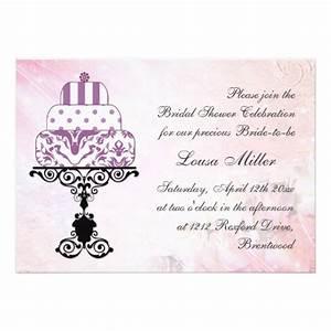 wedding cake purple pink bridal shower 5x7 paper With wedding shower cards